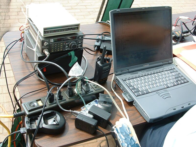 The equipment is a small laptop packet station into a Kantronics KPC - 3 TNC